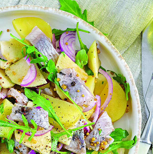 Traditional  salad of salted herring fillet, fresh apples,  red
